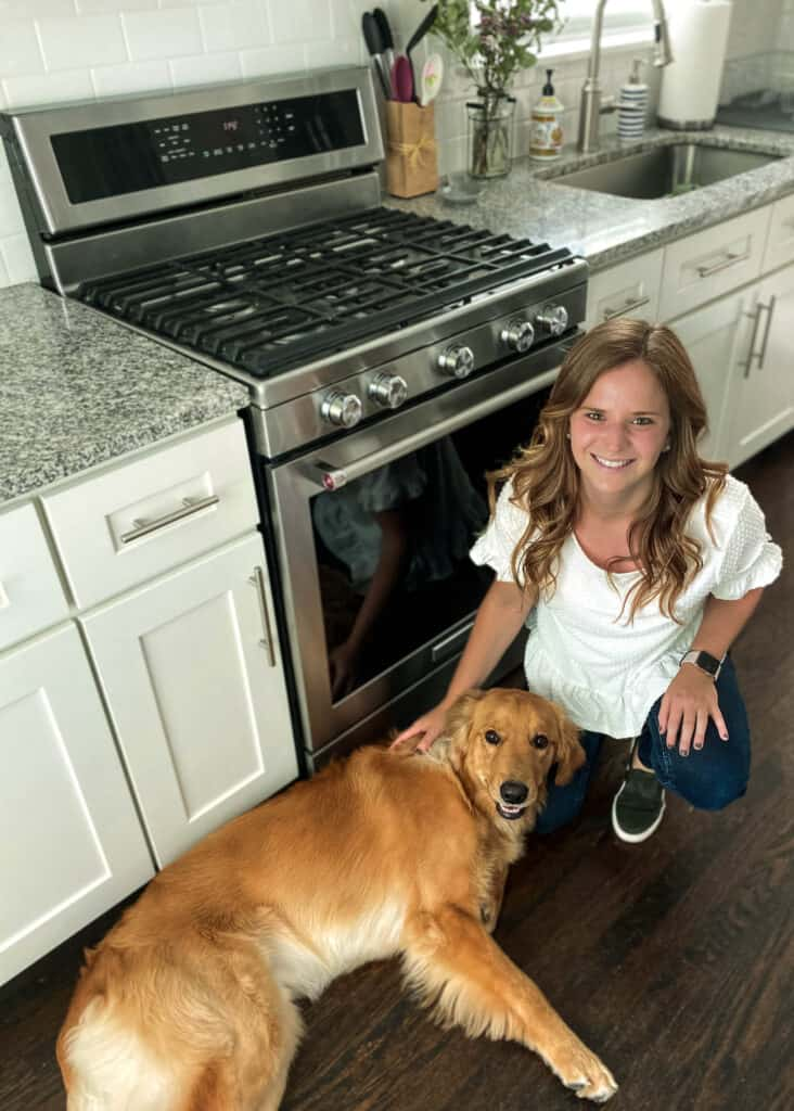 Alana in her kitchen with Wrigley